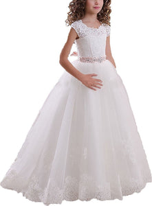 Country White Ivory Lace Flower Girl Dresses Girls' Pageant Dress for Teens PFD031