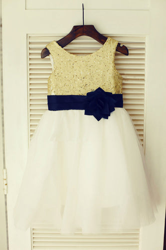 Gold White Tutu Dresses Short Sequins Flower Girl Dresses ASD012