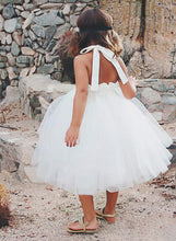 White Ivory Short Tulle Halter Flower Girl Dresses Kids Ball Gown ASD091