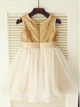 Puffy Gold Sequins Tutus Short Flower Girl Dresses ASD020