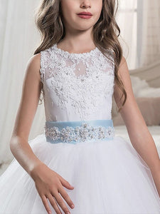 White Blue little Princess Ball Gown Flower Girl Dresses Pageant Dress for Teens ALD073
