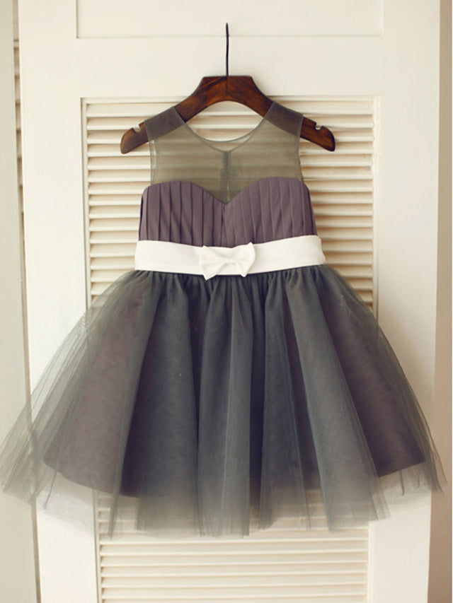 Dark Grey Short Flower Girl Dress Puffy Tutu Dresses with White Belt ASD028