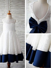 White Navy Lace Short Flower Girl Dresses with Big Bows ASD044