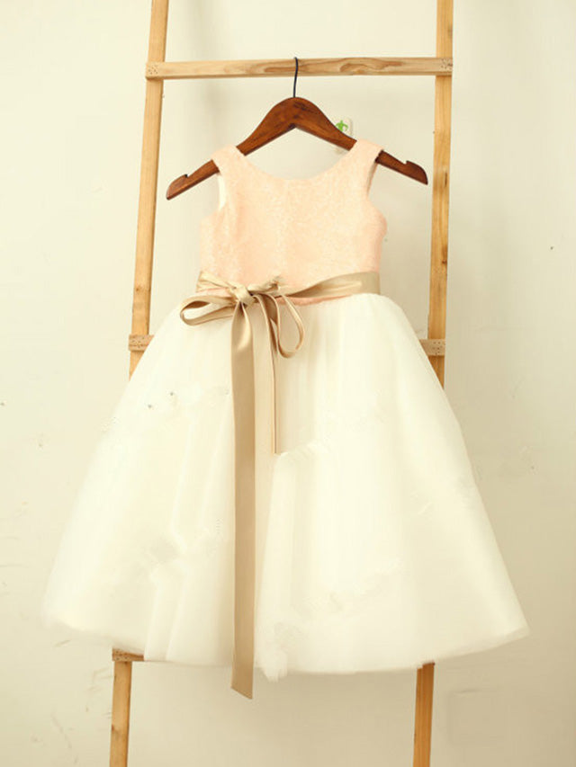 Short Pink White Flower Girl Dresses Cute Tutus ASD032