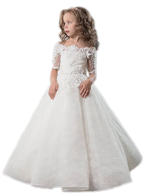 Off Shoulder A Line Lace Flower Girl Dress Pageant Dress for Kids Ball Gown ALD072
