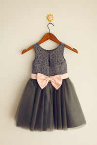 Dark Grey with Pink Belt Tutus Short Lace Flower Girl Dresses ASD009