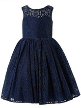 Navy Lace Short Backless Flower Girl Dresses with a Big Bow ASD045
