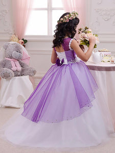 White Purple mixed Flower Girl Dress little Princess Party Pageant Dress ALD059