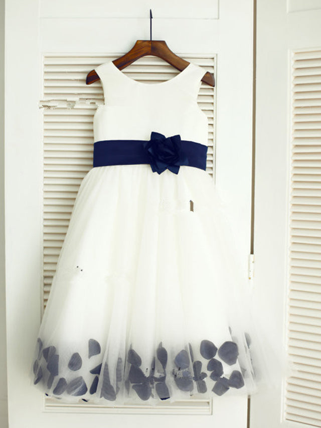 Short White Ivory Flower Girl Dress with Navy Belt and Petals ASD036