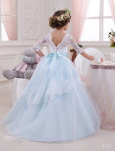 White Blue Lace Tulle Flower Girl Dresses with Long Sleeves Baby Princess Party Gown PFD076