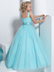 Blue Tulle Flower Girl Dress with Crystal Sequins Belt Pageant Dress ALD052