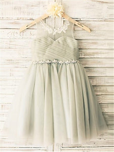 Short Grey Flower Girl Dress Tutus For Wedding Kids Princess Gown ASD056