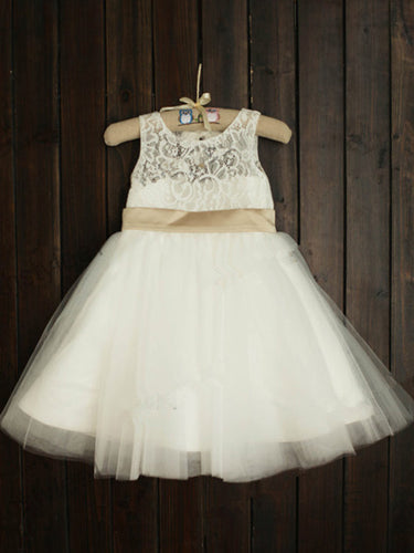 Short White Ivory Lace Flower Girl Dress Cute Puffy Tutus ASD031