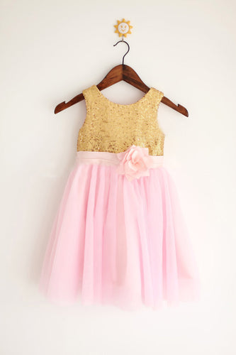 Gold Pink Tutus Skirt Sequins Flower Girl Dresses ASD006