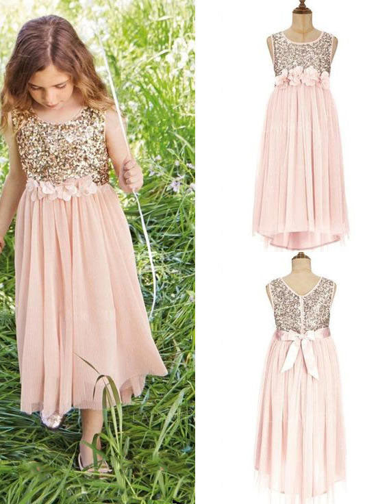 Gold Sequins Pink Chiffon Tea Length Boho Flower Girl Dresses ALD095