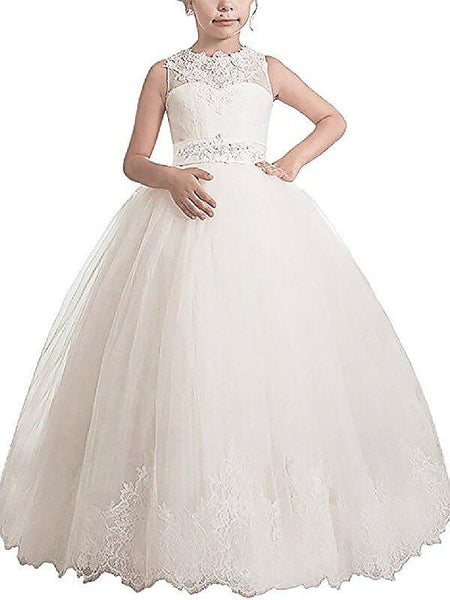 Aprildress White Ivory First Communion Dress Lace Long Flower Girl Dresses ALD003