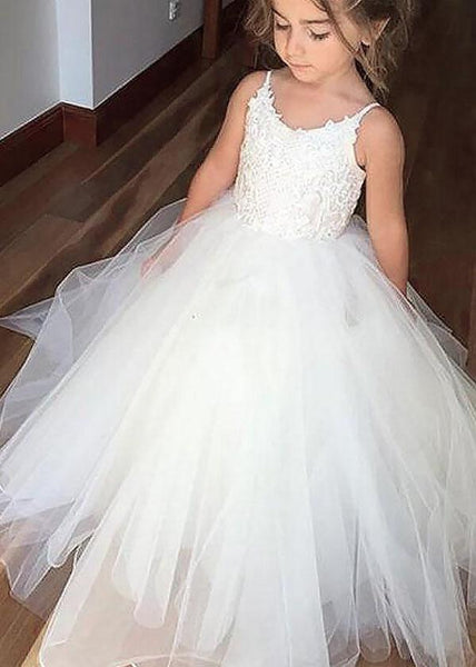 Aprildress White Ivory Long Flower Girl Dresses First Communion Dress Ball Gown ALD025