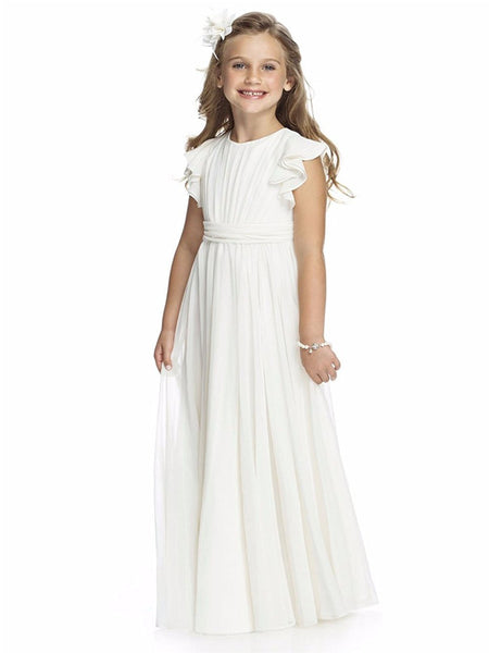 b803f7a06a Aprildress Junior Bridesmaid Dresses Long Chiffon Flower Girl Dress ALD026