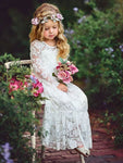 Aprildress White Ivory Lace boho Flower Girl Dresses First Communion Dress ALD040