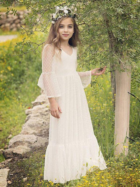 Aprildress Vintage Wite Ivory Lace Flower Girl Dress First Communion Dress ALD041