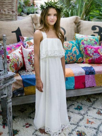 Full Length Boho Flower Girl Dresses First Communion Dress ALD043