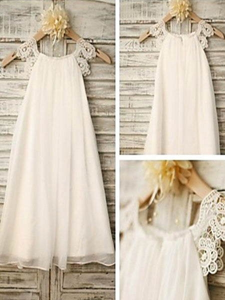 Aprildress White Ivory Lace Chiffon Flower Girl Dresses First Communion Dress ALD046