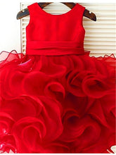 Hot Red Ruffles Organza Satin Flower girl Dresses Girls Pageant Gown ALD047