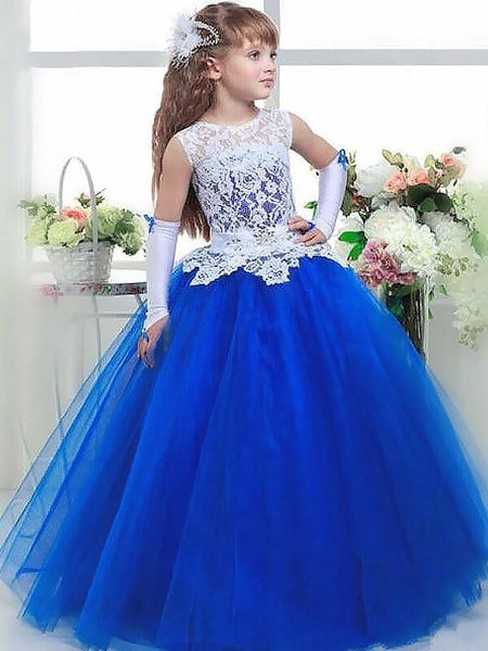 Aprildress White Royal Blue Ball Gown Flower Girl Dress Pageant Dress For Teens ALD048