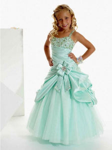 Blue Flower Girl Dress with Crystals Pearls Pageant Gown for Teens ALD051