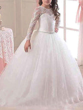 A Line Long Sleeve Lace Flower Girl Dress Kids Pageant Dress ALD061