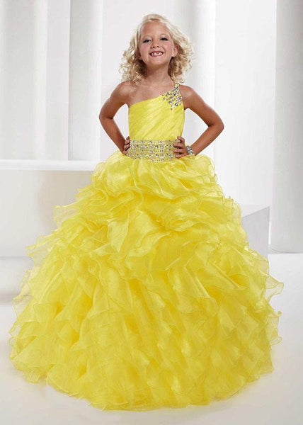 Aprildress One Shoulder Yellow Flower Girl Dresses Ruffles A Line Pageant Dress for Teens ALD066