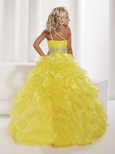 One Shoulder Yellow Flower Girl Dresses Ruffles A Line Pageant Dress for Teens ALD066