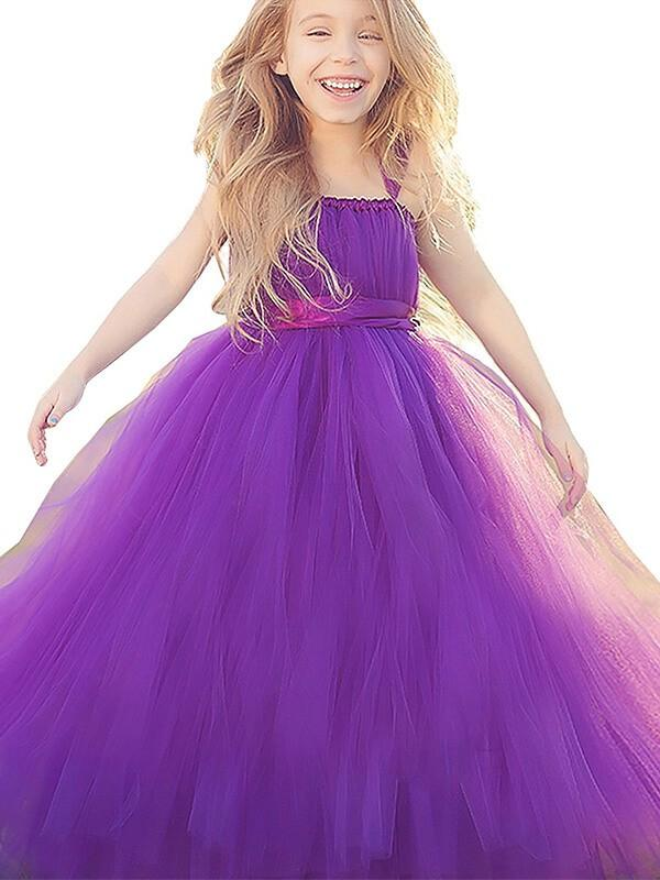 Purple Long Tulle Flower Girl Dress Tutus Baby Birthday Party Dress ALD067