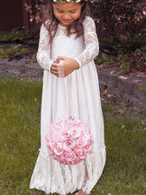 Lace Long Flower Girl Dresses First Communion Dress Baby Princess Gown ALD075