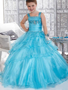 Blue Ruffles Flower Girl Dresses Kids Princess Party Pageant Dress for Teens ALD079