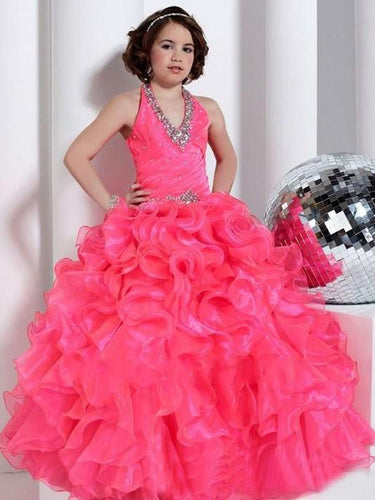 Hot Pink Ruffles Halt V Neck Flower girl Dress Kids Princess Pageant Dresses ALD081