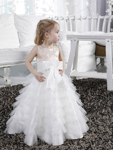 White Ivory Ruffles A Line Flower Girl Dresses Kids Princess Ball Gown ALD082