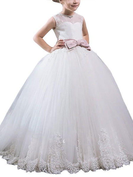 Aprildress Round Neck White Ivory Kids Princess Ball Gown Flower Girl Dresses ALD083