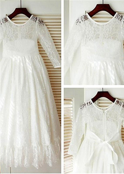 Aprildress First Communion Dresses with Long Sleeve White Ivory Flower girl Dress ALD084