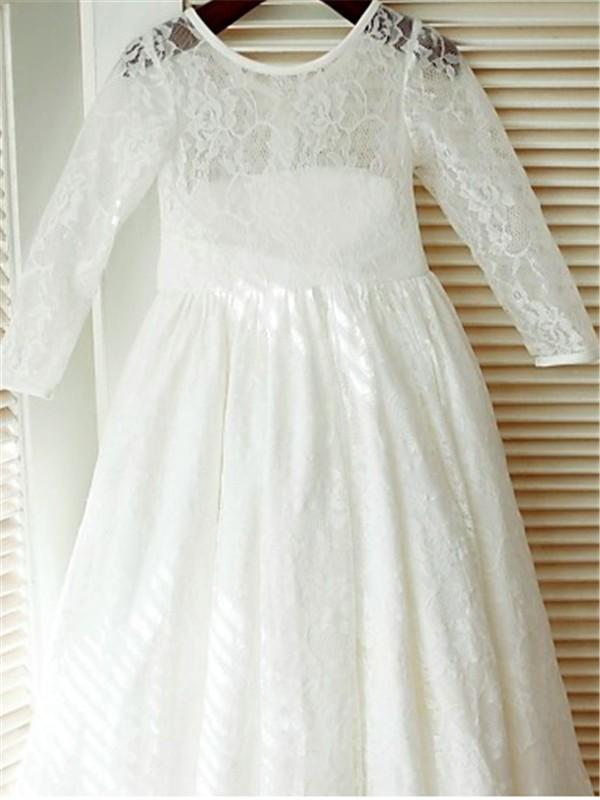 First Communion Dresses with Long Sleeve White Ivory Flower girl Dress ALD084