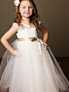 White Ivory Long Flower Girl Dress Tutus with Gold Sash ALD087