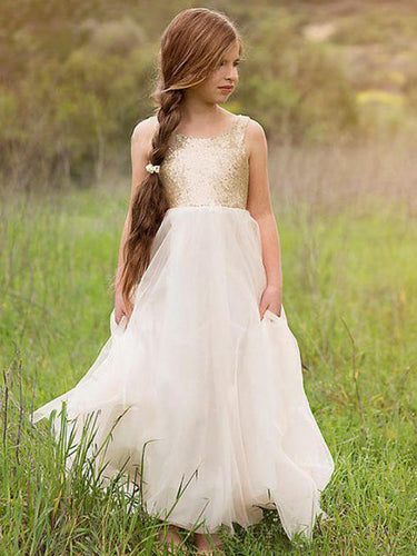 Gold Sequins Bodice White Tulle A Line Boho Flower Girl Dresses ALD090