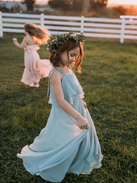 Aprildress Pink Blue Spaghetti Straps Boho Flower Girl Dresses Kids Ball Gown ALD092