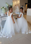 Aprildress White Ivory Tulle Flower Girl Dresses with Petals ALD096