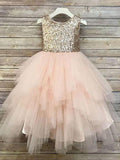 Aprildress Gold Sequins Pink Tulle Flower Girl Dresses Tutus Skirt ALD099
