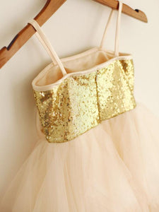 Gold Champagne Sequins Tutus Short Flower Girl Dresses ASD007