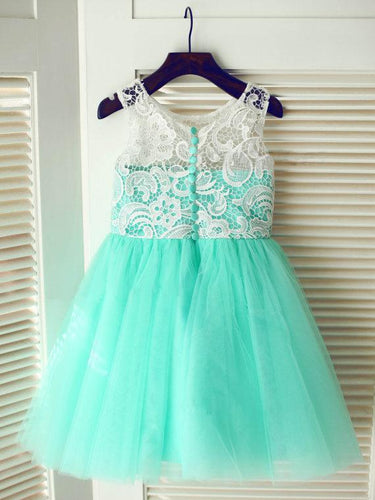 White Mint Tutus Short Lace Flower Girl Dresses with Buttons ASD010