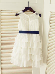 Chiffon Lace Short Flower Girl Dresses ASD014