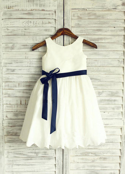 Aprildress Short White Ivory Flower Girl Dress with Buttons and Navy Blet ASD039