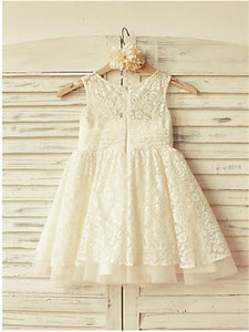 White Ivory Lace Flower Girl Dresses First Communion Dress ASD047